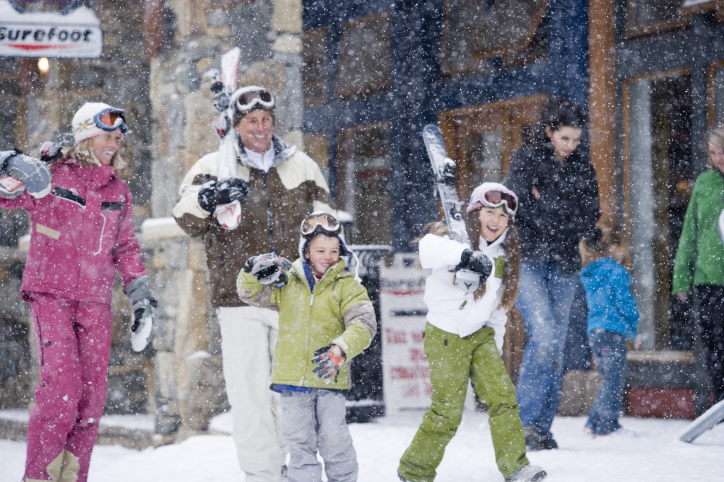 A Family Having Fun in Keystone's River Run Village.