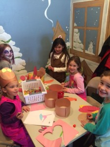 Lovely girls making their Turkey Headbands and patiently waiting to get their faces painted.