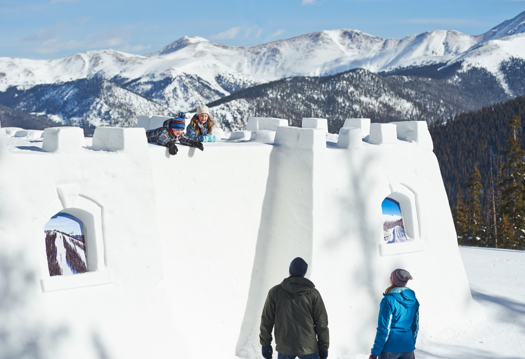 Family enjoys the Snow Fort at Keystone in Keystone, Colorado.