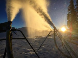 Snowmaking operations continue this morning at Keystone's Summit!