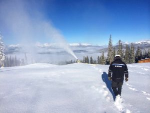 The resort's snowmaking team hard at work at the summit,